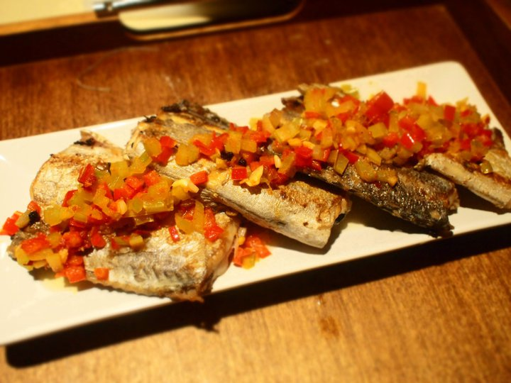 pan seared belt fish with spicy celery and pepper salsa