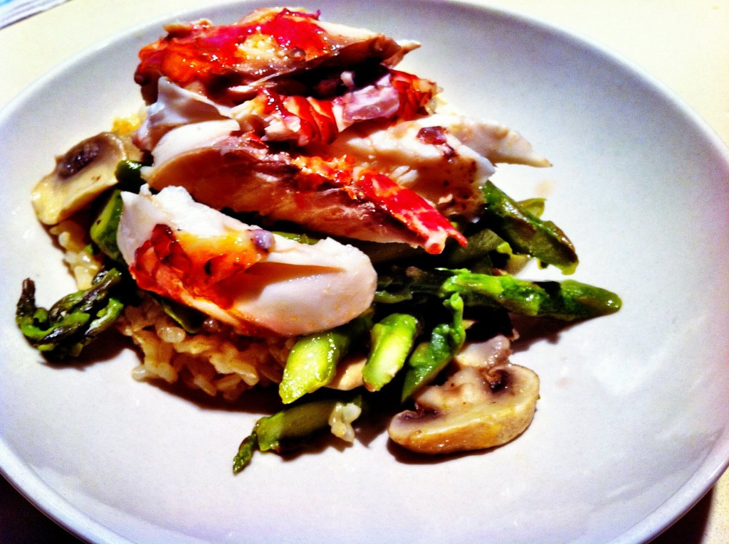 Pan Seared Red Mullet - Served with Steamed Asparagus, Mushrooms, and Brown Rice