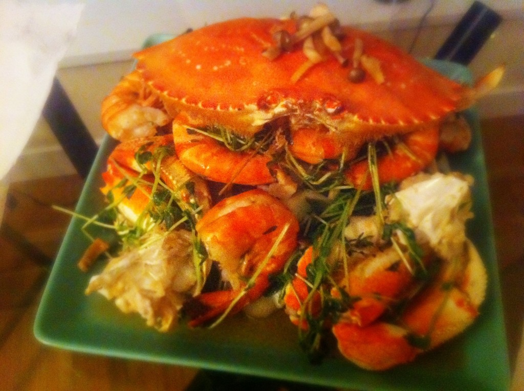Crab and Prawns, Stir Fry with Ginger, and Baby Pea Shoots