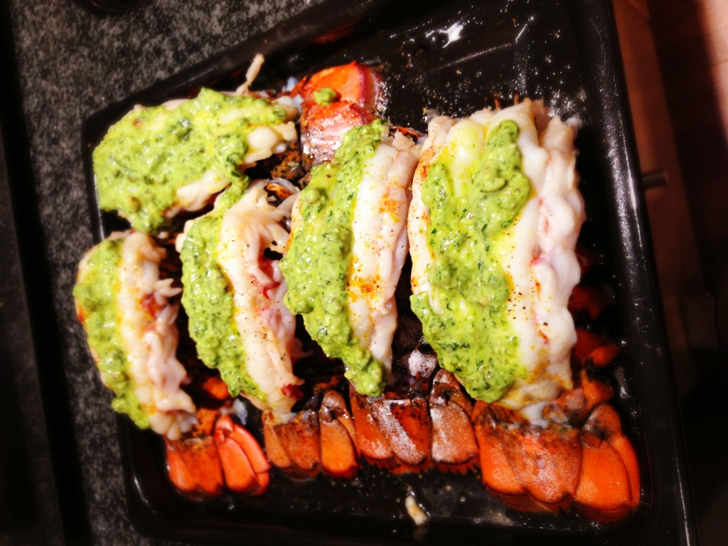 Broiled Lobster Tails with Pesto