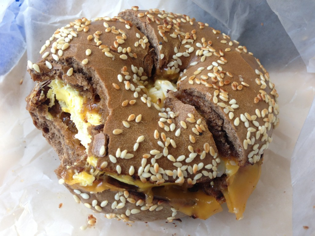 Pumpernick Bagel, Bacon, Eggs & Cheese